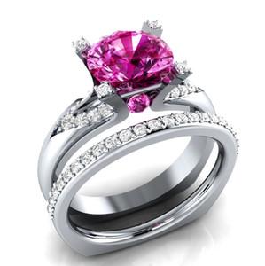 Europa y Estados Unidos Dunhuang Network modelos de explosión anillo plateado conjunto de anillo de circón para mujer conjunto de anillo de boda de lujo para pareja
