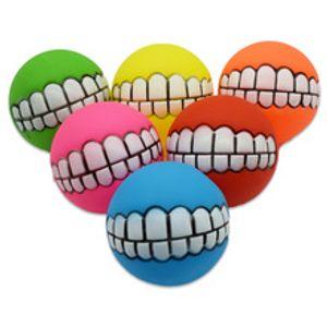 6 أنواع من الحيوانات الأليفة لعب الألوان المختلفة 7.5 سم المينا الأسنان الصوتية الكرة الكلب التدريب الكرة لعبة اللوازم الكلب T3I5215