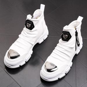 NUEVO Botines de hombre de alta calidad, botas Martin informales para hombres de moda, botas vaqueras blancas, botas de cuero de suela gruesa, mocasines de diseño W43