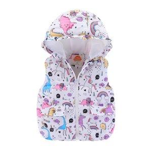Симпатичные девушки малышей Unicorn Жилет с капюшоном Puffer Одежда для животных Pattern Зима