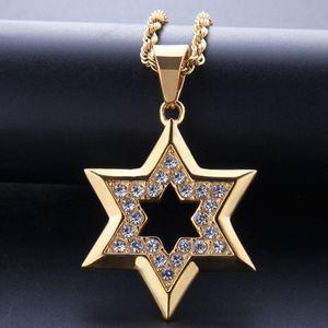 Hip Hop Bling helado Rhinestone oro Acero inoxidable estrella judía de David hexagrama COLLAR COLGANTE para hombres rapero joyería