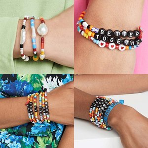 GIRL Colorful Seed Beads Charm Letter Bracelet Stretchy Hope Bless Boho Chic Friendship Pulseras Femme Jewelry