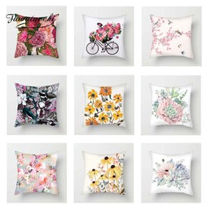 Fuwatacchi Oil Painting Flowers Cushion Covers Rose Sunflower Pillow Covers for Home Chair Sofa Art Floral Pillowcases 2019