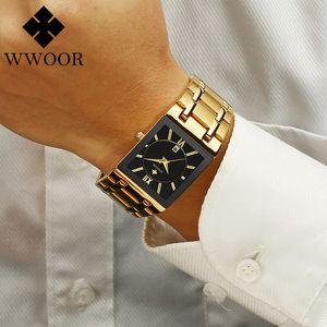 Relojes de los hombres Top WWOOR Oro Negro cuadrado del cuarzo reloj de los hombres 2020 a prueba de agua reloj de pulsera de oro Hombre relojes 2020