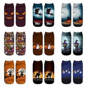 New Pattern Halloween Socks 3D Pumpkin Printing Short Boat Socks Soft Comfortable For Men And Women Multi Style 1 95ml H1