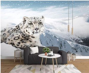 3d wallpaper custom photo Snow leopard animal leopard landscape tv background living room home decor 3d wall murals wallpaper for walls 3 d