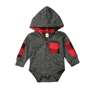 Новорожденный Baby Boy Bodysuit весна серый с длинным рукавом красный плед Карманный Одежда с капюшоном Комбинезон Outfit одежда костюм для подвижных игр