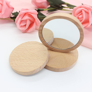 Wooden Small Round Mirror Portable Pocket HD Mirror Wood Mini Makeup Mirror Party Favors Gifts LX2028