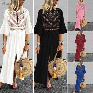 Bohemian Women Vintage Print Dress 2020 Vonda Sexy V Neck Ruffle Sleeve Split Maxi Long Dresses Plus Size Casual Loose Vestidos
