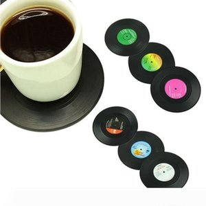 Drinks Table Cup Mat Retro Vinyl Coasters 6PCS set CD Record Coffee Drink Placemat Tableware Spinning Home Decor DHL Free LXL902-1