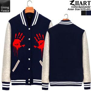 Zombie mano sanguinante Man Boy Baseball giacca Full Zip Fleece Coat Autunno Inverno Coppia vestiti ZIIART