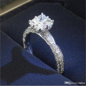 Hot Uphot luxe carrés Bagues pour femmes de mariée cristaux Bijoux Anneaux Accessoires de mode mariage