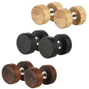 Jewelry & Accessories 1Pair Fashion Ear Studs Earnings For Women Men Natural Wooden Stainless Steel Wood Barbell Piercing Punk Earrings Stud
