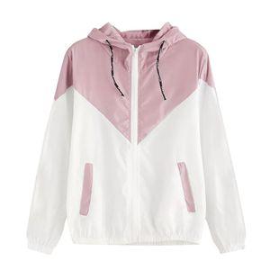 Kadın Kapüşonlu Spor ceket yaz Uzun Kollu Patchwork kadın rüzgarlık Hafif ceket Fermuar cortaviento mujer 2019