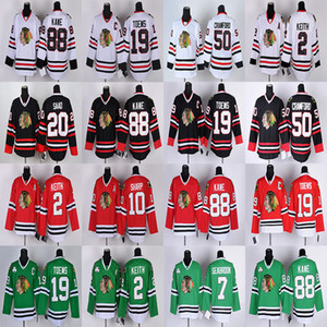 Maillot Blackhawks de Chicago 19 Jonathan Toews 88 Patrick Kane 50 Corey Crawford 2 Duncan Keith 7 Brent Seabrook de hockey