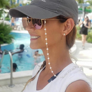 Eyeglasses chain white plastic bead chain silver gold color plated metal chain silicone loops sunglass accessory women gift