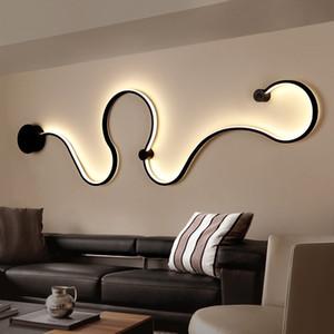 منحنى LED مصباح الجدار الحديثة ثعبانية S تركيبات شكل الأضواء لغرفة المعيشة aisel ممر الألومنيوم ديكور المنزل Murale ومينير