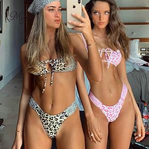 Miyouj 2020 remiendo del leopardo Bikinis atractivas ahuecan hacia fuera Cadena Bikini de corte alto traje de baño de las mujeres traje de baño rosa Imprimir Biquini