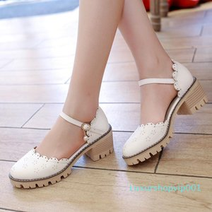 Sexy2019 Women's England Carving Coarse Cavity Sandals One Buckle Baotou With Leather Shoes Hollow Out Student Shoe Will 40