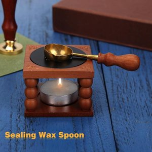 Retro Seal feu timbre métal cire bâton avec manche en bois d'étanchéité cire cuillère décoration de mariage