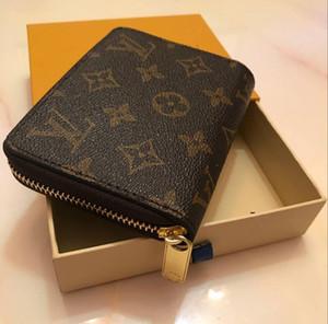 portamonete singolo cerniera disegno del fiore marrone classico breve Portafoglio Portafoglio in pelle Uomo Donna reale con scatola regalo Card Holders bag