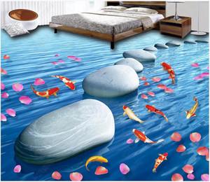 3d pvc flooring custom photo Running water makes money Stone petal carp 3D floor tile river health floor home decor self adhesive wallpaper