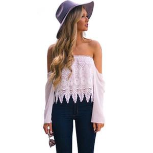 Ocasional de la manera mujeres de la camiseta Off principales cultivos colmena del hombro de encaje de flores de gasa de manga larga T tapas de la camisa