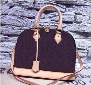 Borsa borsa alma bb guscio dello stilista delle donne Top manico carino borsa in vernice Damier Ebene borsa crossbody