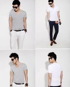 2018 nuevo Slim camisetas de color puro S / V-cuello corto de hombres de moda verano de la manga Tee Shirts Slim Fit normal del músculo Tee