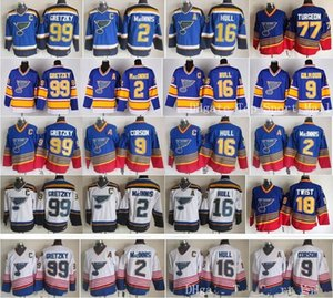 St Louis Blues Jerseys Ice Hockey Vintage 16 Brett Hull 99 Wayne Gretzky 2 Al Macinnis 9 Shayne Corson 9 Doug Gilmour Blue White