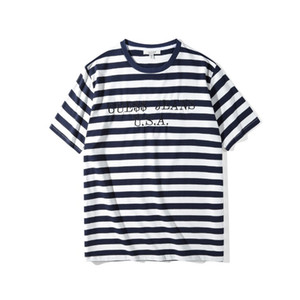 shirts EUA Mens Striped T Summer Fashion bordado Tees Manga Curta Tops Roupa
