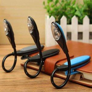 Mising Flexible Portable Mini Clip On Book light Desk Light Bright White LED Reading Lamp Travel Light Black Blue Grey