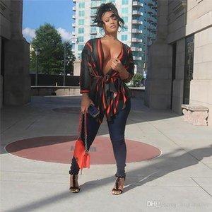 Feminino listrado profunda V-Neck Blusa do desenhador de moda com painéis TShirts com faixas fêmea sexy irregulares Clothes