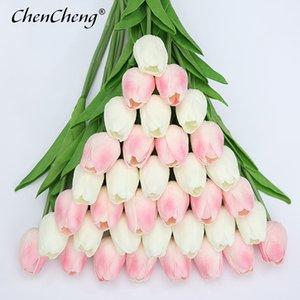 Evde Güz Dekorasyon Parti T200103 için CHENCHENG 31 adet / Lot PU Yapay Lale Çiçek Gerçek Dokunmatik İpek Düğün Çiçek Buket