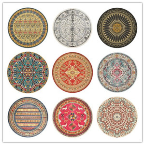 American retro national wind Bohemian round carpet home bedside computer swivel chair hanging basket foot floor mat prayer mat decoration