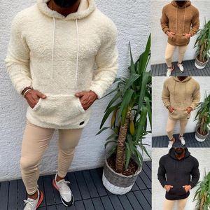 Зима с капюшоном шерпа свитер Большой карманный плюшевый флис пушистых пуловеры для мужчин плюс размер теплый флис Tops Streetwear