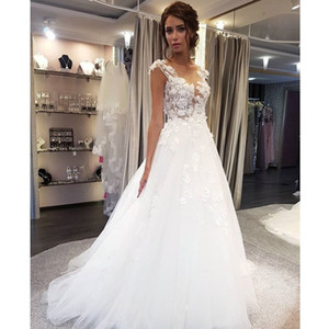 Scoop Wedding Dresses White Lace Applique A Line cap sleeves Sleeveless Illusion Sweep Train Bridal Gown Dress with Back Buttons