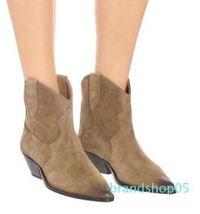 Perfekt Neuerscheinung Isabel Dewina Suede Ankle Boots Mode Paris Marant Western-Cowboy-Schuhe Schuhe Stiefel
