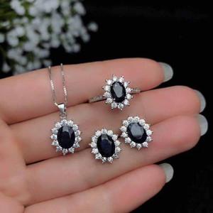 Происхождение Китая, черный, натуральный сапфир ювелирных изделий костюма, кольцо, серьги ожерелья, классический стиль