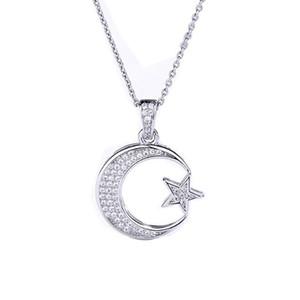 Оптовая розничная стерлинговое серебро 925 Wedding Подвеска для женщин Невесты звезды луны ожерелье Цирконий Inlay