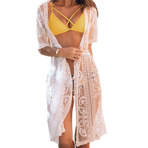 Женщины пляж бикини сокрытие Сексуального красивый модные с коротким рукавом Блуза с кружевом цветочного принтом для бикини крышки пляжа платья