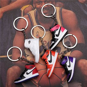 Wholesale DHL 3D Sneakers Keychain Basketball Keychain Joint Name 3D Stereo Shoe Model Pendant Couple Jewelry Souvenir Hot