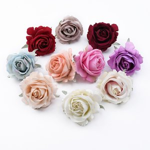 100pcs Wedding Flowers decorative corone rose di seta testa fiori artificiali all'ingrosso accessori da sposa decorazione spazio casa T200509