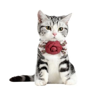 Pet Adjustable Bowknot Necktie for Cats Small Dogs Teddy Velvet Floral Tie For Gatos