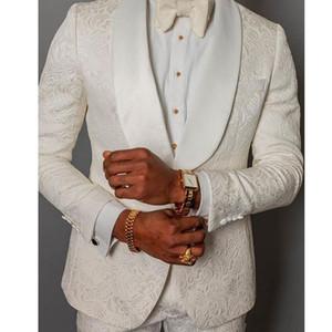Mode Elfenbein Präge Herren Hochzeit Smoking Schal Revers Groomsmen Smoking Beliebte Mann Blazer Jacke Ausgezeichnete Anzug (Jacke + Pants + Tie) 1526