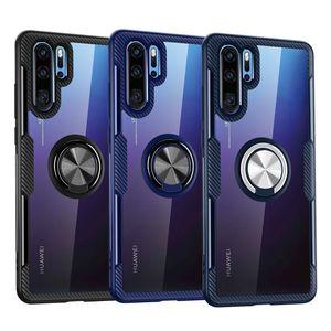 Darbeye Temizle Telefon Kılıfı için Huawei P40 Pro P30 Lite P20 Nova 5T 30Pro 30 30Lite 20 20Pro 20Lite P Akıllı 2019 Araç Halka Tutucu Kapak Mate