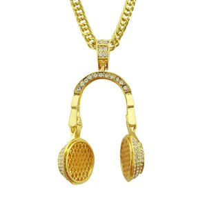 1 STÜCKE Mode Gold Headset Anhänger Halskette Kristall männer Hip Hop Schmuck Kette Halskette Punk Rock Übertrieben Schmuck Geschenk