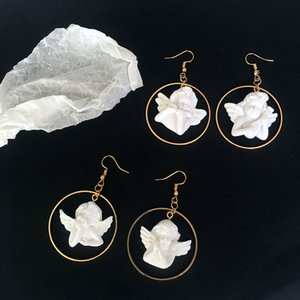 Korea Harakuju Cute Cupid Angel Drop Earring Resin Funny Party Joalheria Cute Circle Asymmetrical Dangle Brincos