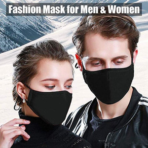 Washable PM2.5 Black Mask Filter Anti Odor Smog Cotton Dust Proof Reusable Mouth Face Mask With 2 Filters