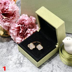 De nouveaux Trèfle à quatre feuilles Design Madame Anneaux d'or pour Femme Nature pierres précieuses Agate Shell Designer Marque Bijoux femmes Livraison gratuite avec Box